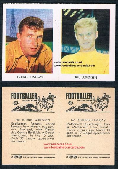 1966 A&BC Scottish pair Rangers 20 Eric Sorensen Odense  9 Lindsay Motherwell